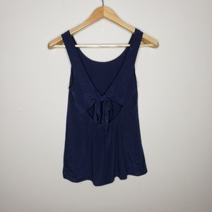 Madewell Navy Blue Open Back Bow Tank Top
